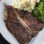 Porterhouse Steak with Spinach and Rice
